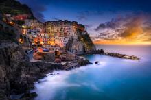 Sunset Over Cinque Terre, Manarola, Tuscany, Italy