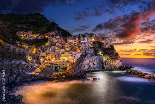 Photo  Sunset over Cinque Terre, Manarola, Tuscany, Italy