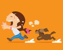 Cute Girl Running Away From An...