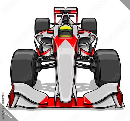 widok-z-przodu-wektor-szybka-kreskowka-formula-wyscig-samochodowy-ilustracja-sztuki