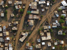 South African Township With Tin Shacks From Above