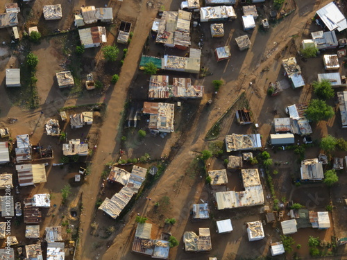 Valokuvatapetti South African township with tin shacks from above