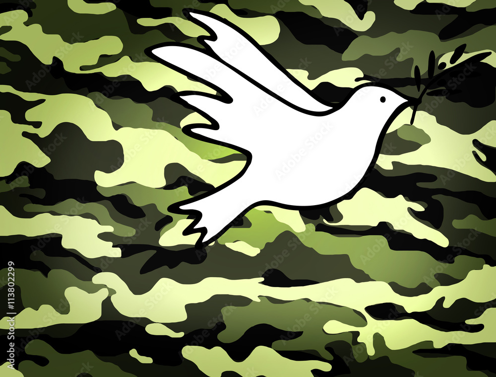Dove of Peace, peaceful solutions of compromise symbol on military background