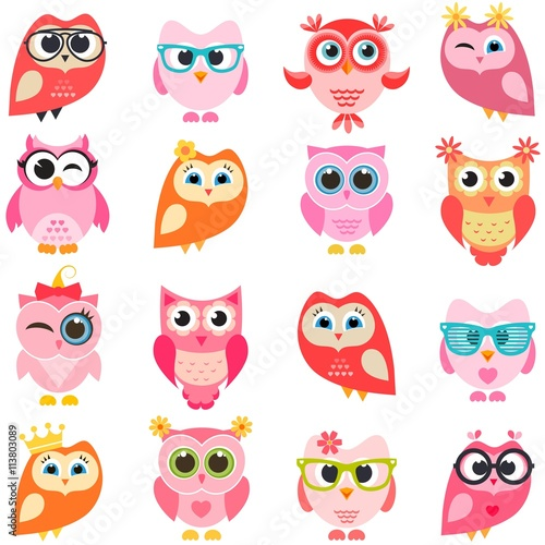 Canvas Prints set of red and pink owls