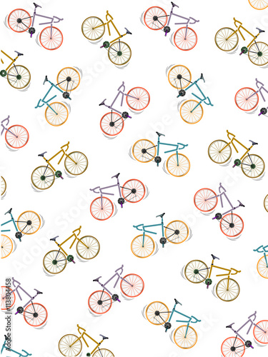 Fotografie, Obraz  Pattern coloured bicycles, white background, vector