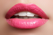 Perfect Smile. Beautiful Full Pink Lips And White Teeth. Pink Lipstick. Gloss Lips. Make-up & Cosmetics