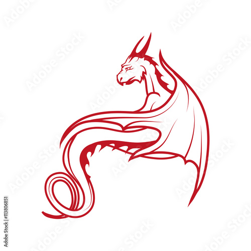 Obraz na plátně  red dragon logo