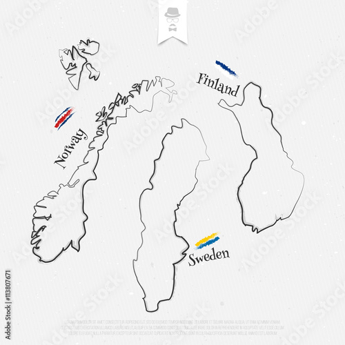 Finland, Sweden and Norway outline maps and official colors ...
