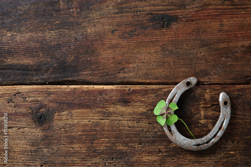 Foto op Canvas Paarden Old horse shoe,with clover leaf