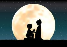 The Love Under The Moonlight, Vector Illustrations