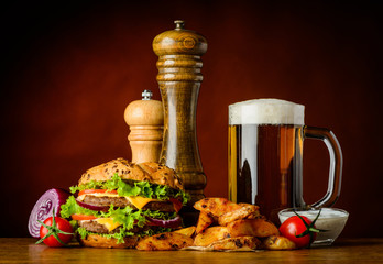 Fototapeta Do steakhouse Burger with Cold Beer and Fries