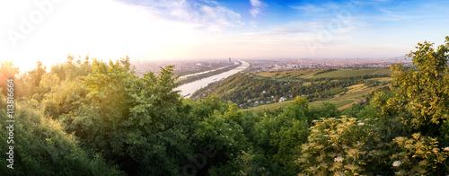 Skyline of capital city Vienna and Danube Island with the Donau City , Austria