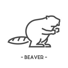 Vector Outline Figure Of Beaver