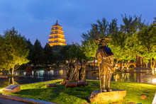 Xian, China - Park And Great Wild Goose Pagoda At Night