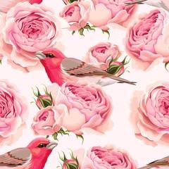 Fototapeta Romantyczny English roses and birds seamless