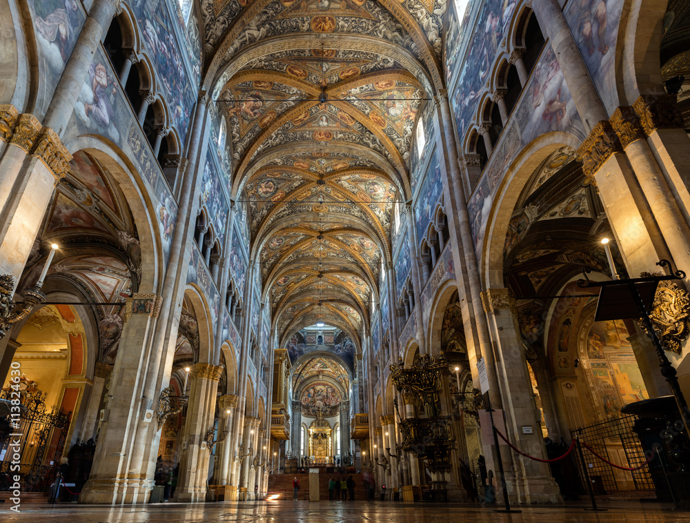 Fototapety, obrazy: 12th-century Romanesque Parma cathedral filled with Renaissance art. Its ceiling fresco by Correggio is considered a masterpiece of Renaissance fresco work.