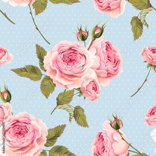 Poster Artificiel English roses seamless