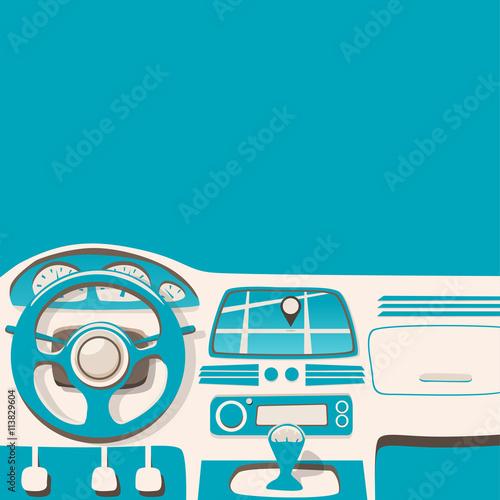 Staande foto Cartoon cars Vehicle interior. Inside car. Vector cartoon illustration