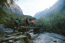 Group Of Hikers Crossing The B...