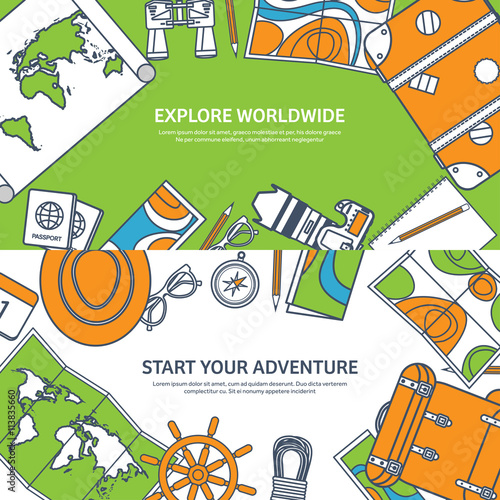 Travel and tourism. Flat style. World, earth map. Globe. Trip, tour, journey, summer holidays. Travelling,exploring worldwide. Adventure,expedition. Table, workplace. Traveler. Navigation or route © 32 pixels