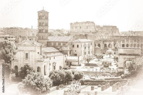 Photo  Old vintage postcard style of Roman Forum with Colliseum in Rome