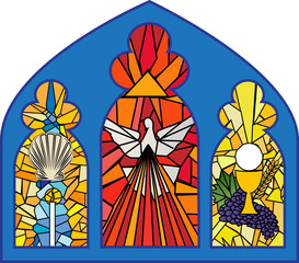 Naklejka Church stained glass window with sacraments of christian initiation - baptism, confirmation and eucharist