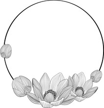 Line Art Lotus Flowers In Round Frame For Text