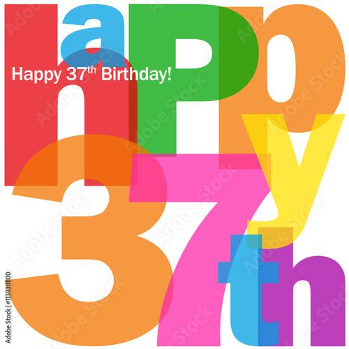 HAPPY 37th BIRTHDAY Vector Card