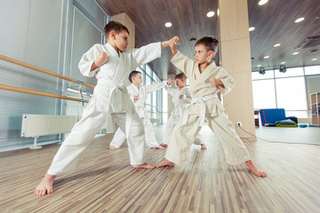 Fototapeta Sztuki walki young, beautiful, successful multi ethical kids in karate position