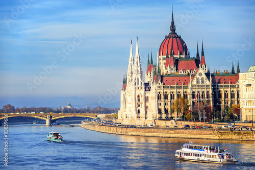 Tuinposter Boedapest The Parliament building on Danube river, Budapest, Hungary