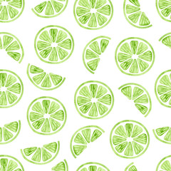 Panel Szklany Do kuchni Watercolor lime seamless pattern. Vector background wit slices of lime isolated on white.