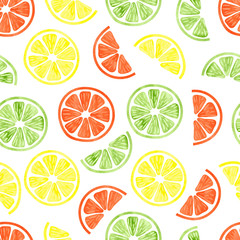 FototapetaWatercolor citrus seamless pattern. Vector background with lemon, orange and lime slices isolated on white. Can be used for wallpaper, web page design, textile, backgrounds.