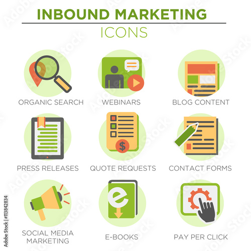 Circular Green Inbound Marketing Vector Icons with organic search, ppc, blog con Canvas Print