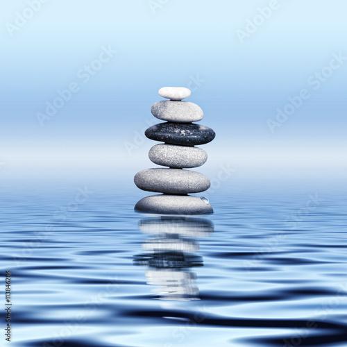 Printed kitchen splashbacks Light blue Pebble stone stack, oriental health care concept