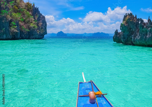 Wall Murals Green coral Boat trip to blue lagoon, Palawan, Philippines