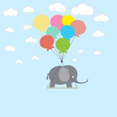 Fototapeta Słoń Elephant on the balloons