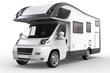 White camper vehicle - studio lighting closeup shot - isolated on white background