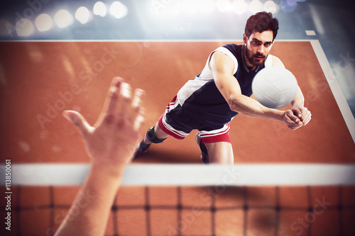 Volleyball player in action Canvas Print