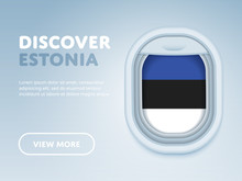 Flight To Estonia Traveling Theme Banner Design For Website, Mobile App. Modern Vector Illustration.