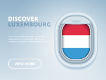 Flight To Luxembourg Traveling Theme Banner Design For Website, Mobile App. Modern Vector Illustration.