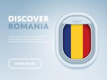 Flight To Romania Traveling Theme Banner Design For Website, Mobile App. Modern Vector Illustration.