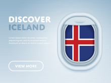 Flight To Iceland Traveling Theme Banner Design For Website, Mobile App. Modern Vector Illustration.