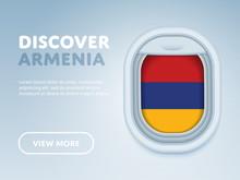 Flight To Armenia Traveling Theme Banner Design For Website, Mobile App. Modern Vector Illustration.