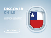 Flight To Chile Traveling Theme Banner Design For Website, Mobile App. Modern Vector Illustration.