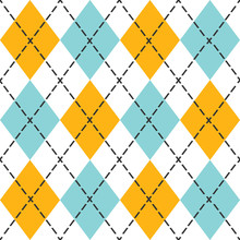 Blue And Orange Trendy Argyle Seamless Pattern - Modern Design In Teal, Blue, And Black