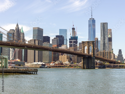 Printed kitchen splashbacks Brooklyn Bridge New York City Manhattan downtown buildings skyline Brooklyn Bridge
