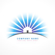 house with sun rays company logo design