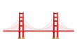 US symbol - Golden Gate Bridge. Vector landmark isolated over the white background. San Francisco, United States of America. Side view. Flat style illustration