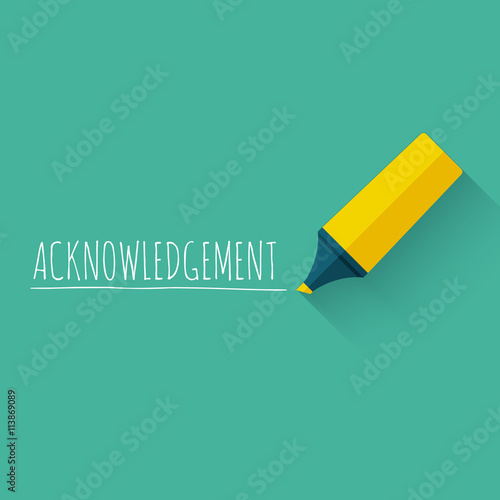 Photo Acknowledgment word concept design with yellow pencil or marker