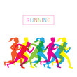 Running, People Run, Athlete, Sport, Colorful Silhouette Vector